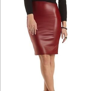 💄Faux leather pencil skirt with slit💄